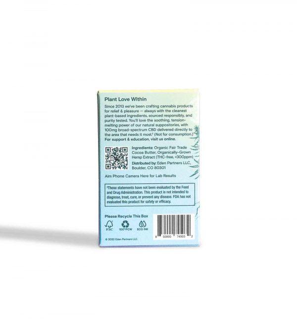 Foria Broad-spectrum CBD in Organic Cocoa Butter Back Carton